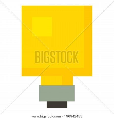 Square light bulb icon. Cartoon illustration of square light bulb vector icon for web on white background