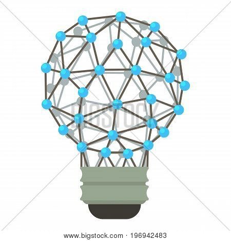 Abstract polygonal light bulb icon. Cartoon illustration of polygonal light bulb vector icon for web on white background
