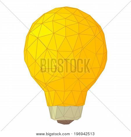 Light bulb with triangles icon. Cartoon illustration of light bulb with triangles vector icon for web on white background