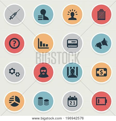 Elements Skyscarper, Charge, Bankroll And Other Synonyms Gears, Megaphone And Dollar.  Vector Illustration Set Of Simple Trouble Icons.