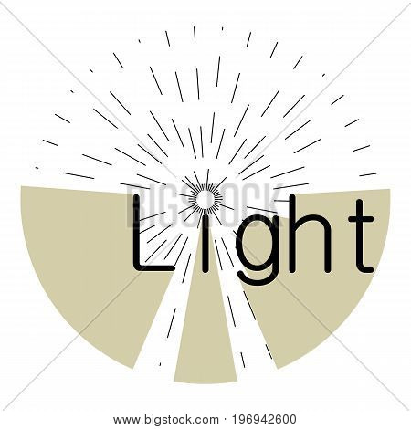 Word light with rays icon. Cartoon illustration of word light with rays vector icon for web on white background