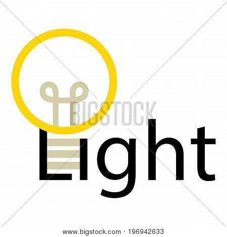 Word light with lamp icon. Cartoon illustration of word light with lamp vector icon for web on white background