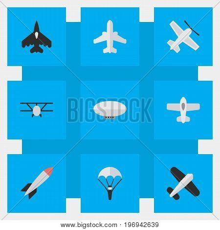 Elements Airplane, Craft, Aviation And Other Synonyms Airship, Flying And Bomb.  Vector Illustration Set Of Simple Aircraft Icons.