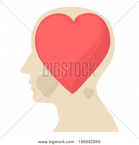 Head with heart icon. Cartoon illustration of head with heart vector icon for web on white background