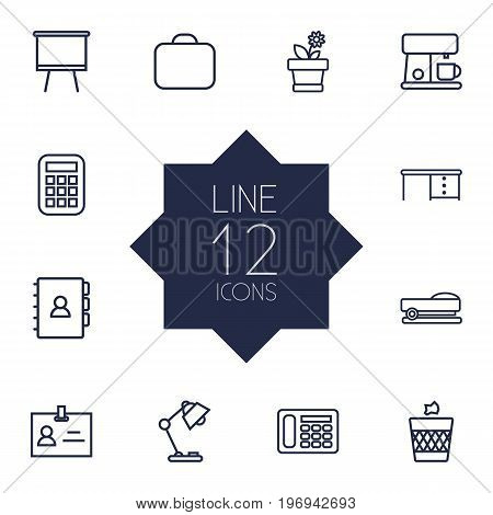 Collection Of Calculator, Telephone, Coffee Maker And Other Elements.  Set Of 12 Workspace Outline Icons Set.