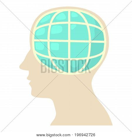 Head with globe icon. Cartoon illustration of head with globe vector icon for web on white background