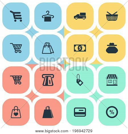 Elements New Item, Shop Trolley, Package And Other Synonyms Price, Present And Plastic.  Vector Illustration Set Of Simple Sale Icons.