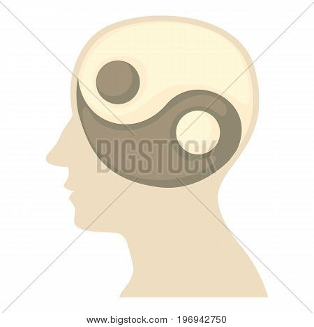 Head with yin yang symbol icon. Cartoon illustration of head with yin yang symbolvector icon for web on white background
