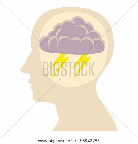 Head with storm icon. Cartoon illustration of head with storm vector icon for web on white background