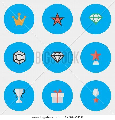 Elements First, Brilliant, Present And Other Synonyms Trophy, Diamond And First.  Vector Illustration Set Of Simple Reward Icons.