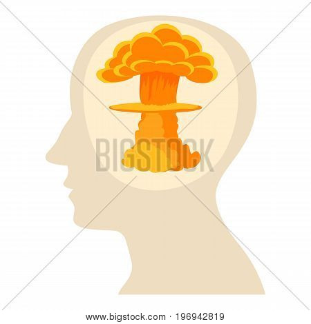 Head with explosion icon. Cartoon illustration of head with explosion vector icon for web on white background
