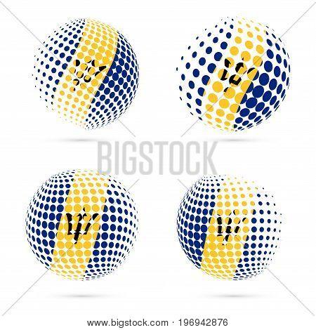 Barbados Halftone Flag Set Patriotic Vector Design. 3D Halftone Sphere In Barbados National Flag Col