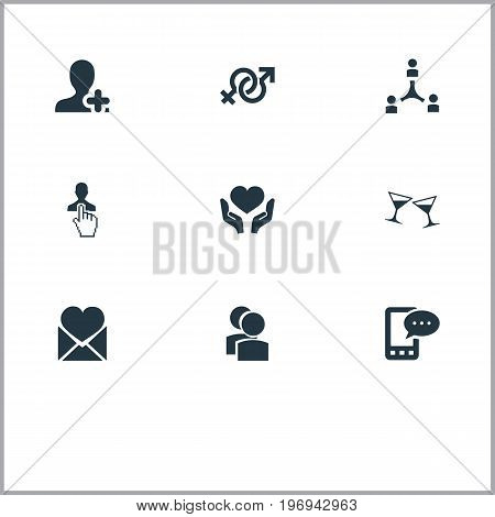 Elements Symbol, Beverage, Cooperation And Other Synonyms Glasses, Companions And Hand.  Vector Illustration Set Of Simple Buddies Icons.