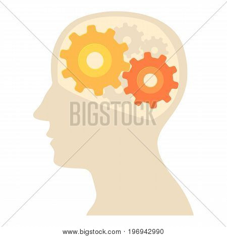 Head with gear icon. Cartoon illustration of head with gear vector icon for web on white background