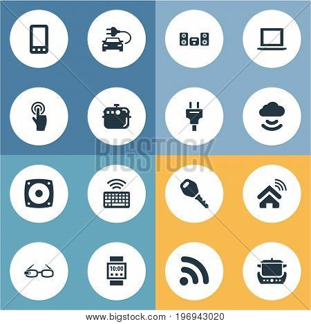 Elements Smartphone, Eco Transportation, Oven And Other Synonyms Oven, Keypad And Glasses.  Vector Illustration Set Of Simple Device Icons.