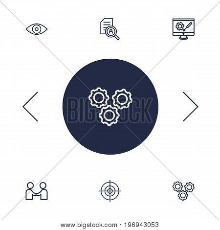 Collection Of Research, Development, Eye And Other Elements.  Set Of 6 Business Outline Icons Set.