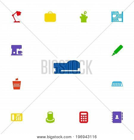 Collection Of Phone , Stand , Calculate Elements.  Set Of 13 Bureau Icons Set.