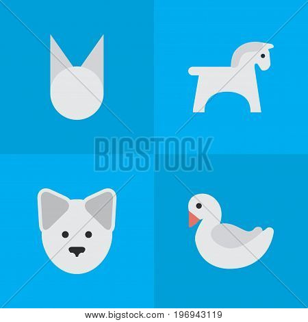 Elements Steed, Wolf, Swan And Other Synonyms Horse, Dog And Sweet.  Vector Illustration Set Of Simple Fauna Icons.
