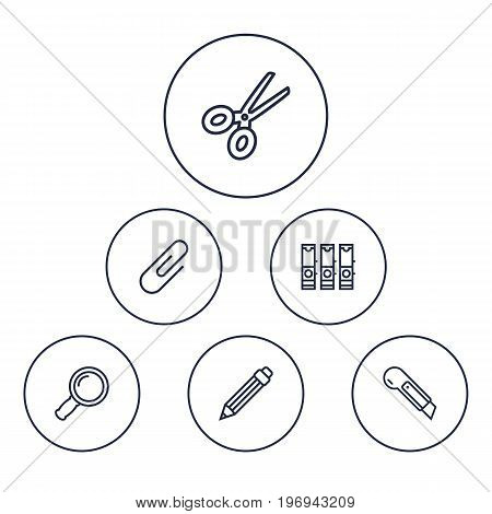 Collection Of Cutter, File Folder, Drawing And Other Elements.  Set Of 6 Instruments Outline Icons Set.
