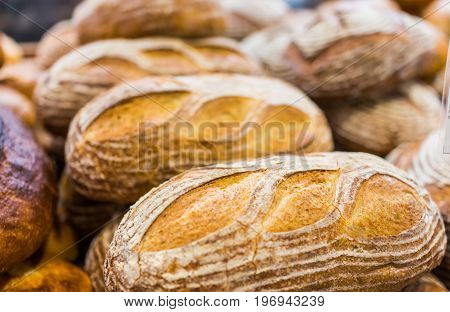 Closeup Of Sourdough Baked Bread Loaves In Bakery