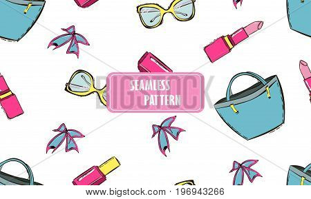 Vector cute hand drawn seamless pattern with women's accessories and cosmetics. Trendy background with pink and gold women's accessories: bag Lipstick nail polish glasses.