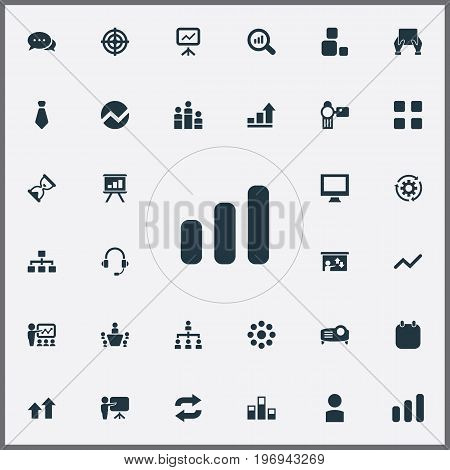 Elements Projecting Device, Growing Up, Group And Other Synonyms Date, Bar And Arrow.  Vector Illustration Set Of Simple  Icons.