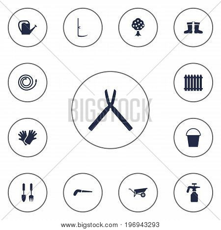 Collection Of Cutter, Spray Bootle, Hacksaw And Other Elements.  Set Of 13 Farm Icons Set.