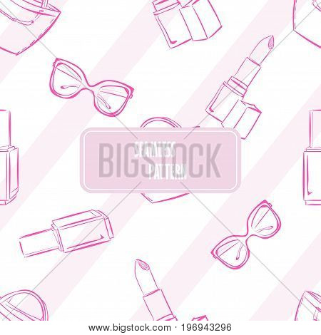 Vector Fashion Hand Drawn Seamless Pattern With Women's Accessories And Cosmetics. Pink Striped Back