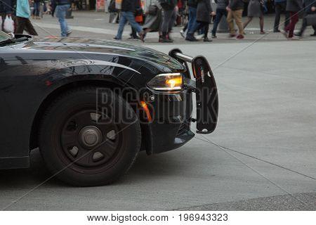 Wheel headlight hood back car street background