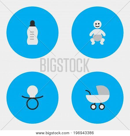 Elements Child, Stroller, Vial And Other Synonyms Children, Nipple And Stroller.  Vector Illustration Set Of Simple Child Icons.