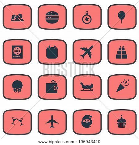 Elements Sandwich, Travel Document, Birthday Dessert Synonyms Food, Fast And Wallet.  Vector Illustration Set Of Simple  Icons.