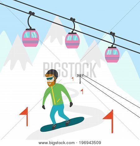 Illustration of ski resort with snowboarder. Vector illustration.