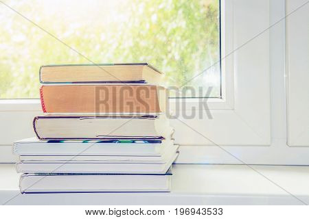 books on window, concept of learning, self-development, education, reading, cognition