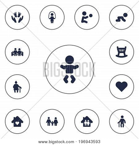Collection Of Girl, Grandma , Heart Elements.  Set Of 13 People Icons Set.