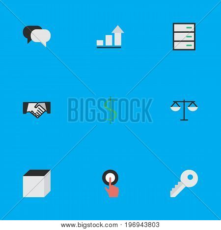Elements Drawer, Talking, Growing And Other Synonyms Money, Growing And Handshake.  Vector Illustration Set Of Simple Business Icons.
