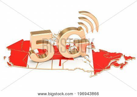 5G in Canada concept 3D rendering isolated on white background