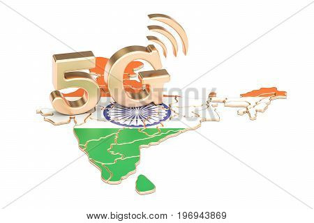 5G in India concept 3D rendering isolated on white background