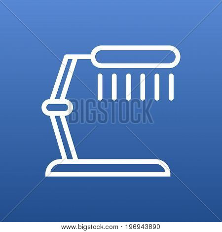 Vector Table Lamp Element In Trendy Style.  Isolated Illuminator Outline Symbol On Clean Background.