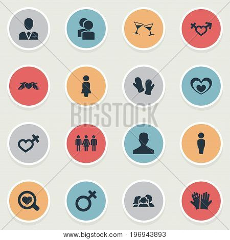 Elements Mitten, Barrister, Soul And Other Synonyms Symbol, Mister And Spouse.  Vector Illustration Set Of Simple Beloved Icons.