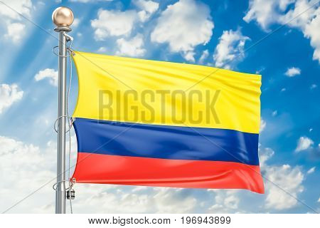 Colombian flag waving in blue cloudy sky 3D rendering
