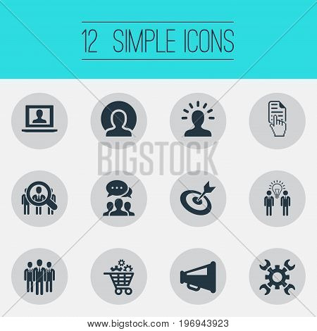 Elements Group, Brainstorming, Staff And Other Synonyms Success, Businessman And Technologies.  Vector Illustration Set Of Simple Plan Icons.
