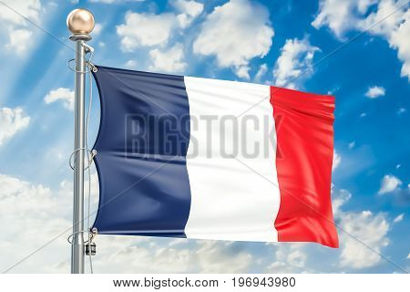 French flag waving in blue cloudy sky 3D rendering