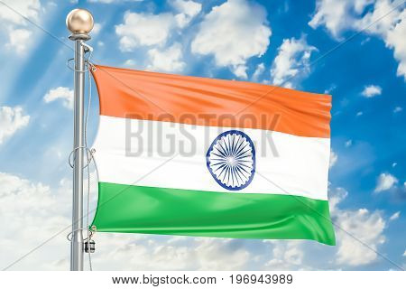 Indian flag waving in blue cloudy sky 3D rendering
