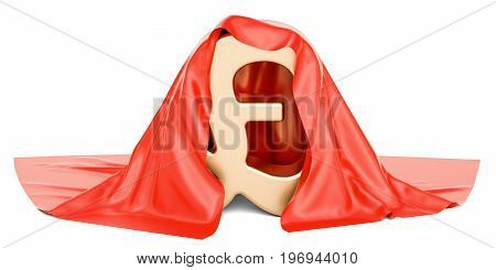 Pound sterling covered red cloth 3D rendering isolated on white background