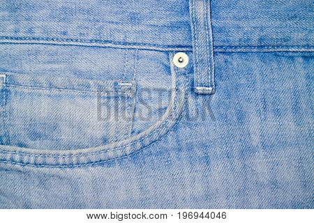 Photo of white blue jeans fragment of clothing