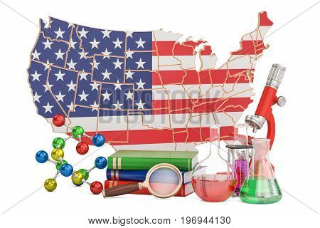 Scientific research in USA concept 3D rendering isolated on white background