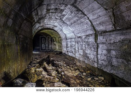 Abandoned bunker under Sevastopol tunnel with concrete walls