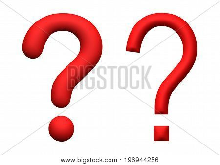 illustration of red 3d rendered question marks isolated on white background