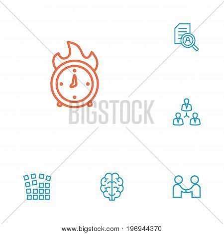 Collection Of Partnership, Research, Grid Structure And Other Elements.  Set Of 6 Business Outline Icons Set.