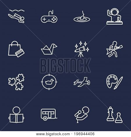 Collection Of Shopping, Reading, Hunting And Other Elements.  Set Of 16 Lifestyle Outline Icons Set.